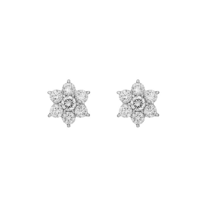 18K White Gold Diamond Blossom Earrings