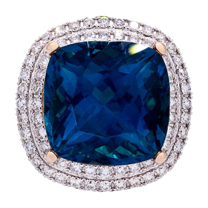 Zorab 18K Rose Gold Fantasia Topaz Sapphire Diamond Ring
