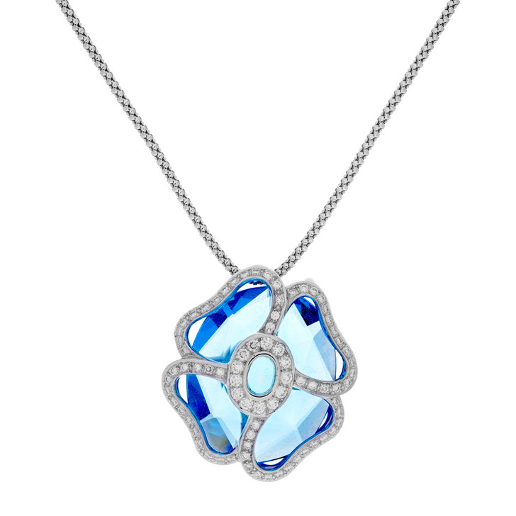 18K White Gold Diamond Blue Topaz Blossom Pendant Necklace