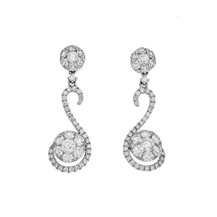 18K White Gold 2.38 Carat Diamond Drop Earrings