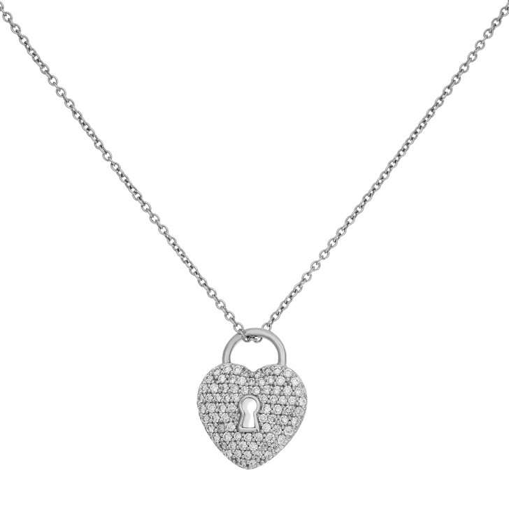 Tiffany & Co. Platinum & Diamond Heart Lock Pendant Necklace