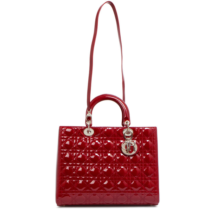 Christian Dior Red Patent Cannage Large Lady Dior