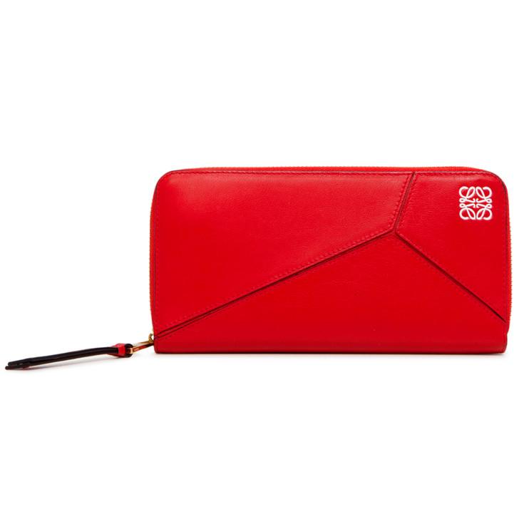 Loewe Red Calfskin Puzzle Zip Around Wallet