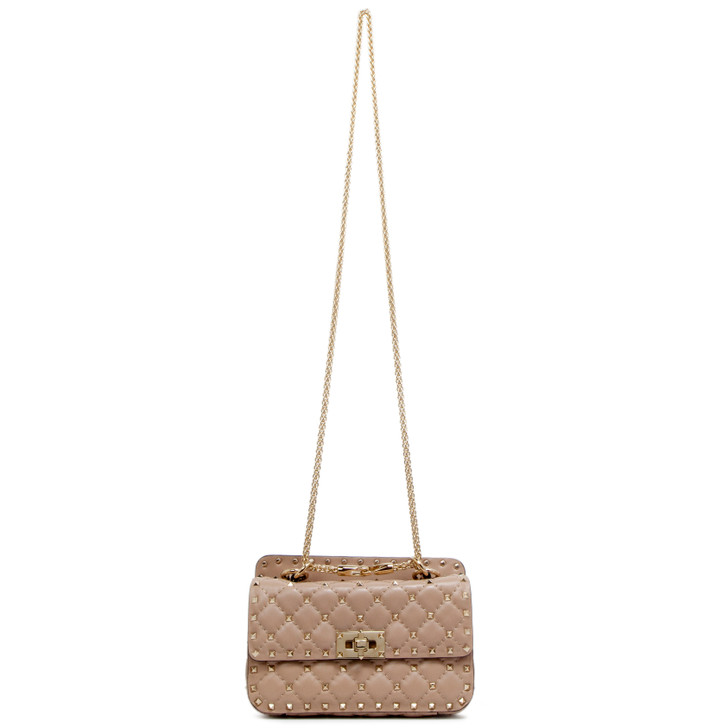 Valentino Poudre Lambskin Small Rockstud Spike Shoulder Bag