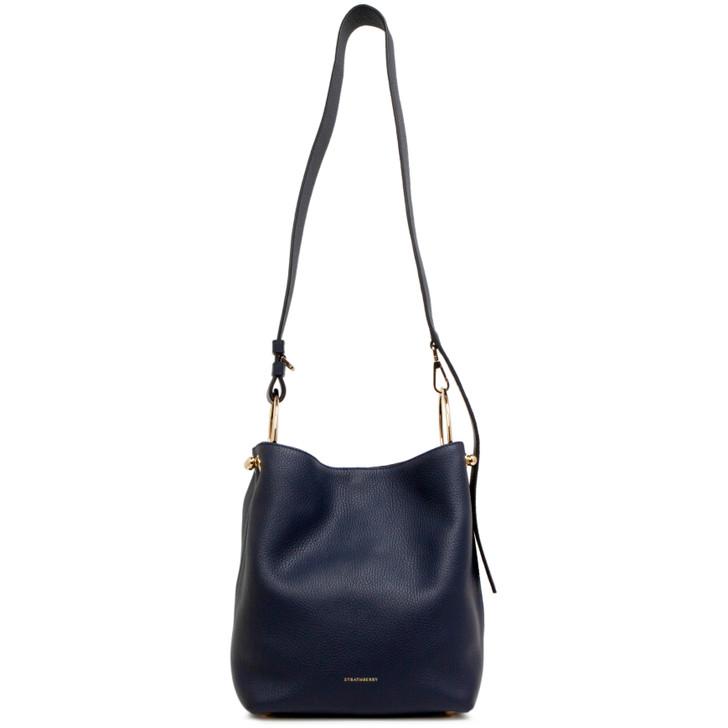 Strathberry Navy Calfskin Lana Midi Bucket Bag