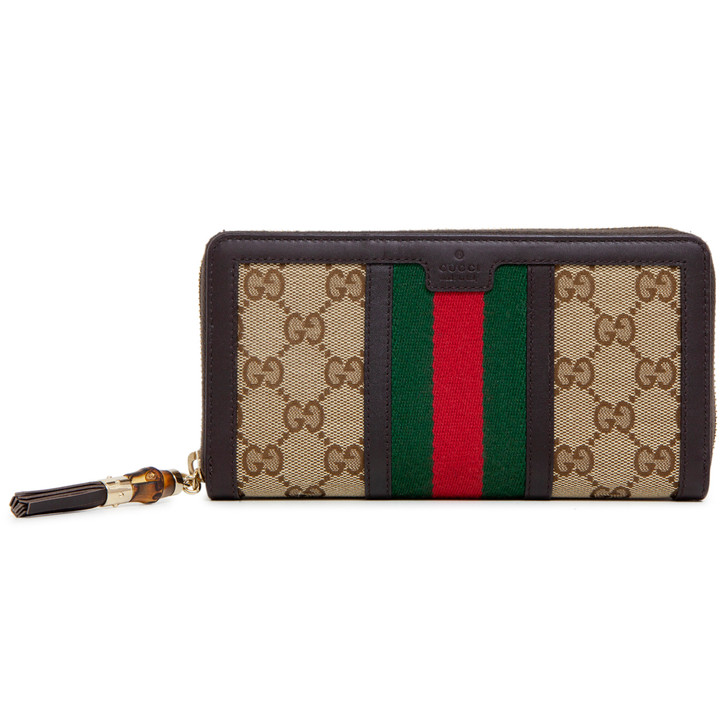 Gucci Dark Brown Original GG Rania Zip Around Wallet