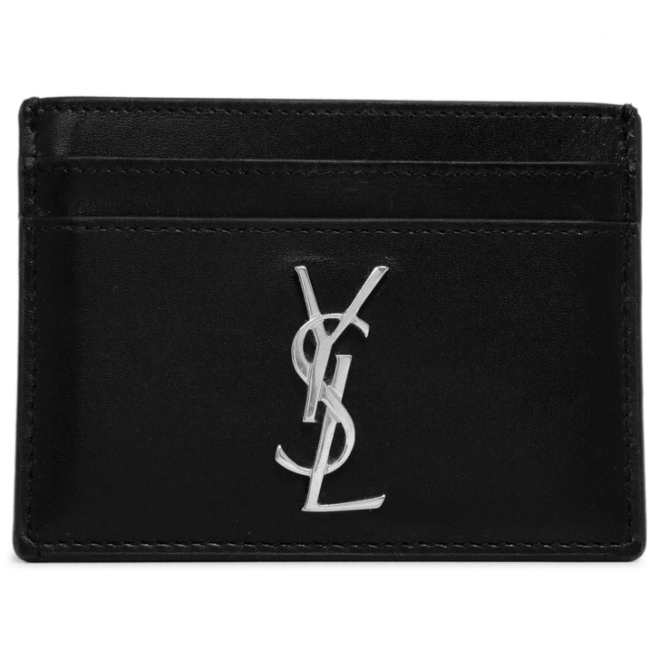 Saint Laurent Black Smooth Calfskin Monogram Card Case