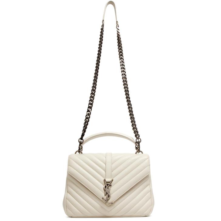 Saint Laurent White Quilted Sheepskin Medium College Bag