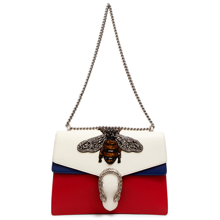 Gucci White/Blue/Red Calfskin Embroidered Bee Medium Dionysus Shoulder Bag
