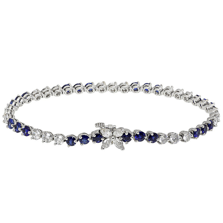 Tiffany & Co. Platinum, Diamond & Sapphire Victoria Tennis Bracelet