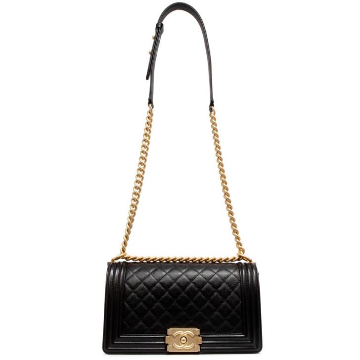 Chanel Black Quilted Caviar Medium Boy Bag
