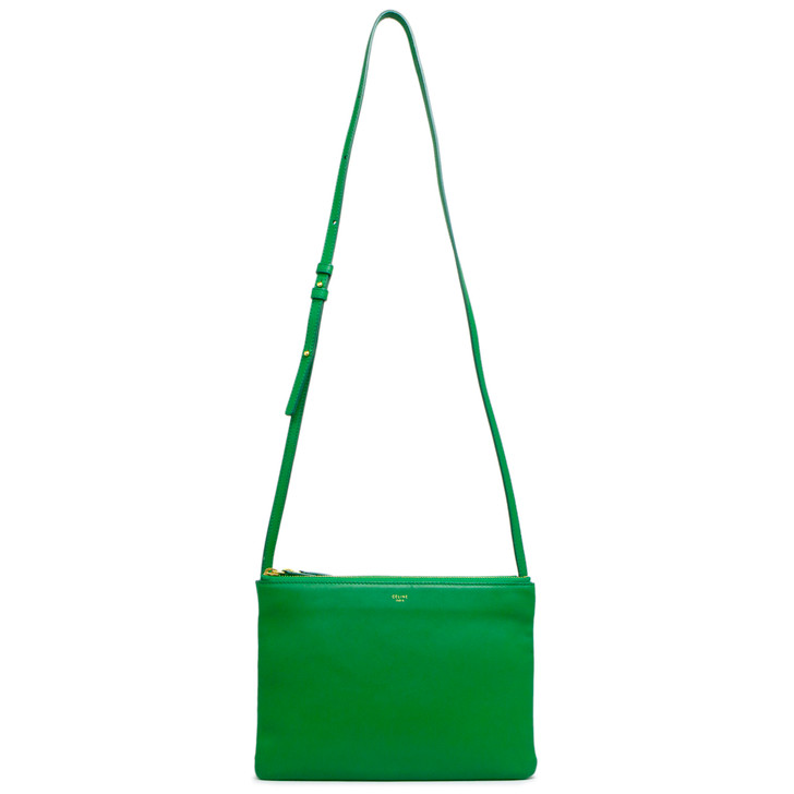 Celine Green Lambskin Large Trio Crossbody