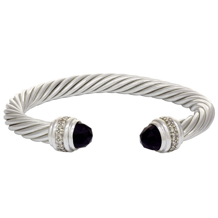 David Yurman Sterling Silver, Onyx & Diamond 7mm Cable Classics Bracelet