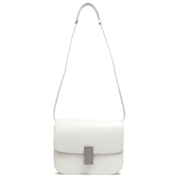 Celine White Goatskin Medium Classic Flap Bag