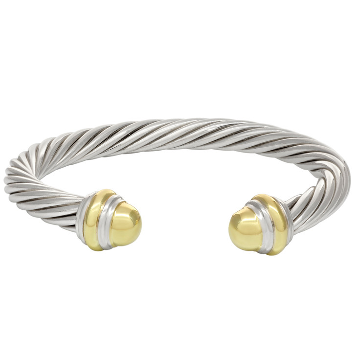David Yurman Sterling Silver & 18K Yellow Gold 7mm Cable Classics Bracelet