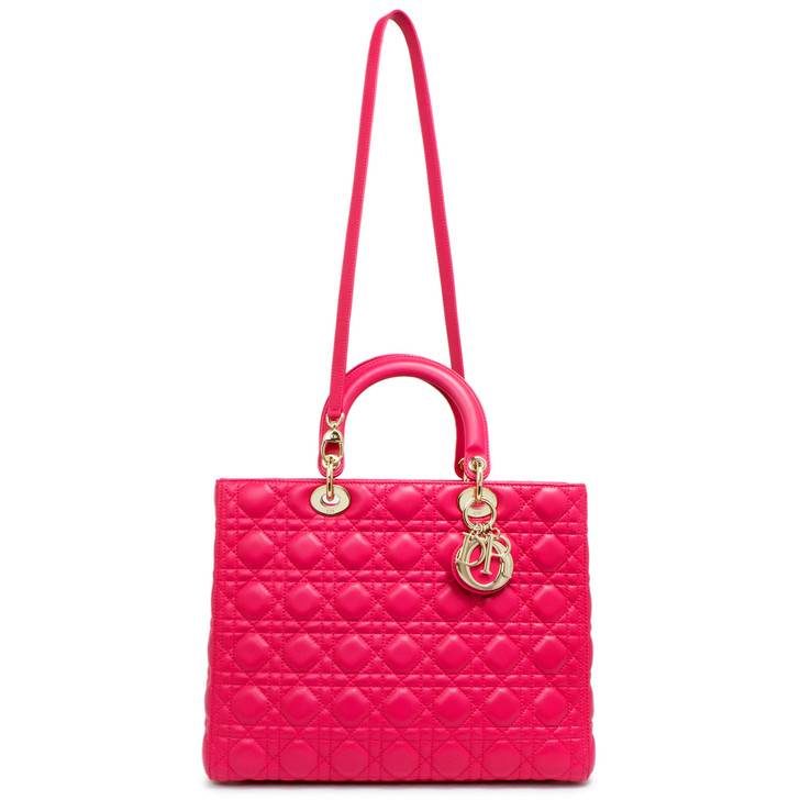 Christian Dior Rose Sorbet Lambskin Cannage Large Lady Dior