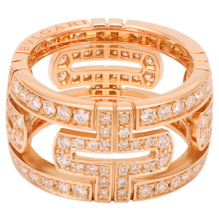 Bvlgari 18K Rose Gold Parentesi Pave Diamond Ring