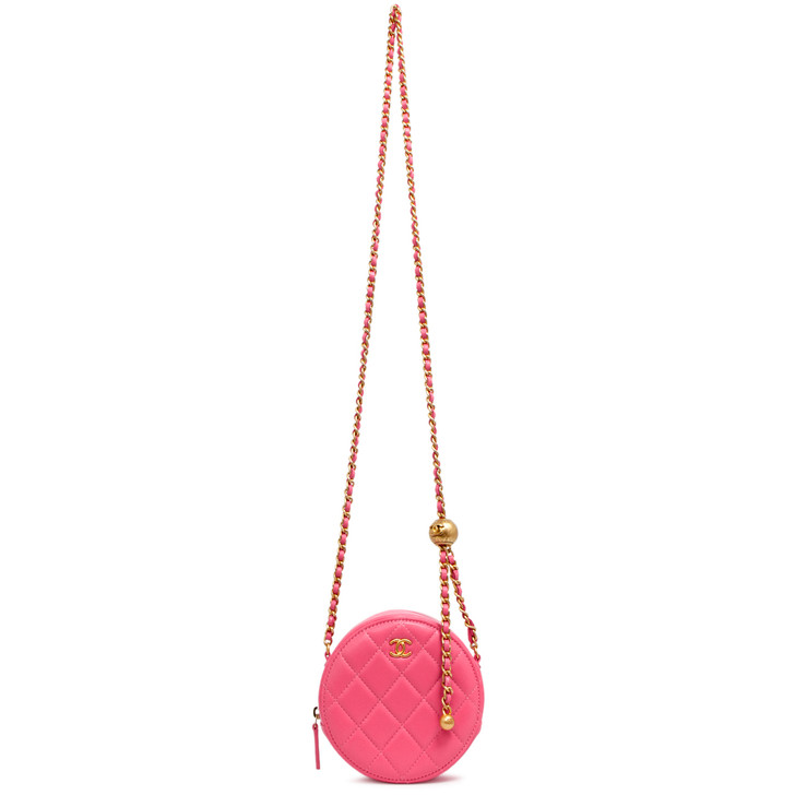 Chanel Pink Quilted Lambskin Pearl Crush Round Clutch With Chain