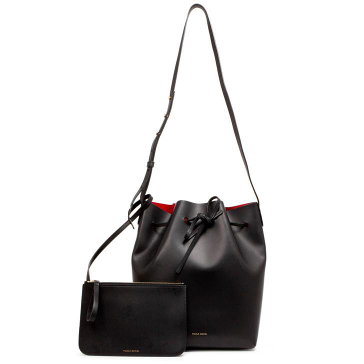 Mansur Gavriel Black/Flamma Calfskin Bucket Bag