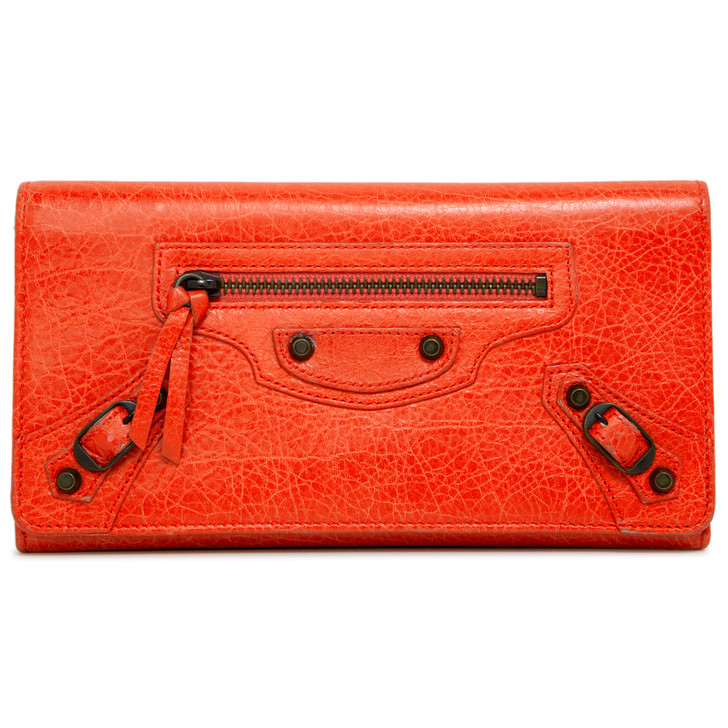 Balenciaga Corail Lambskin Classic Money Wallet