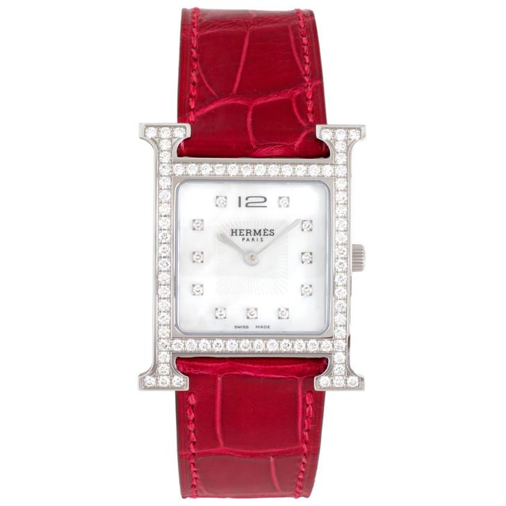 Hermes Stainless Steel & Diamond Heure H Quartz Watch  HH1.530