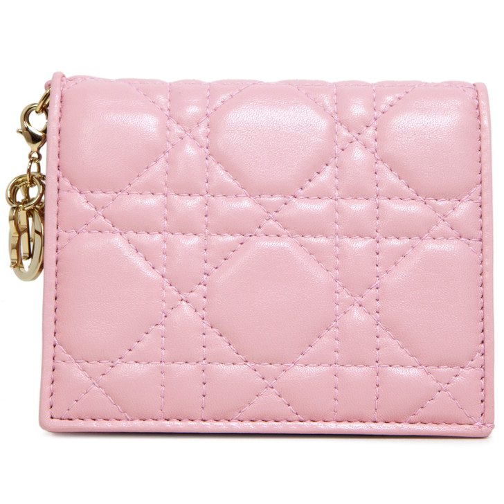 Dior Pink Cannage Lambskin Mini Lady Dior Wallet
