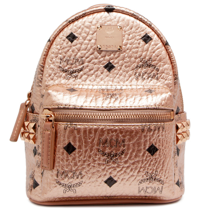 MCM Gold Visetos Canvas Side Studs X-Mini Stark Backpack