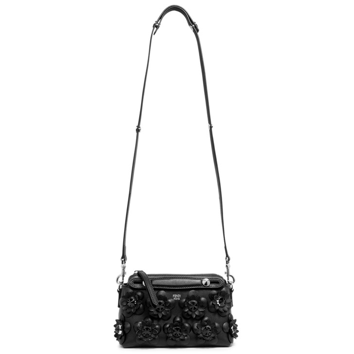 Fendi Black Calfskin Flowerland Mini By The Way Bag