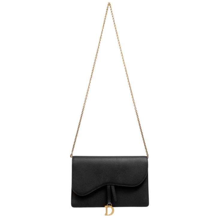 Dior Black Grained Calfskin Saddle Chain Wallet Clutch