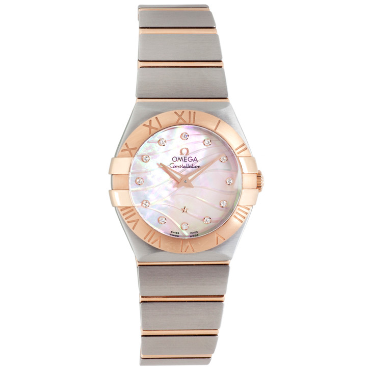 Omega Stainless Steel & 18K Rose Gold Constellation Quartz Watch 123.20.27.60.57.002