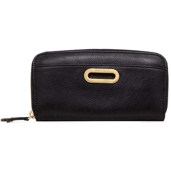 Jimmy Choo Black Grained Calfskin Long Zip Wallet