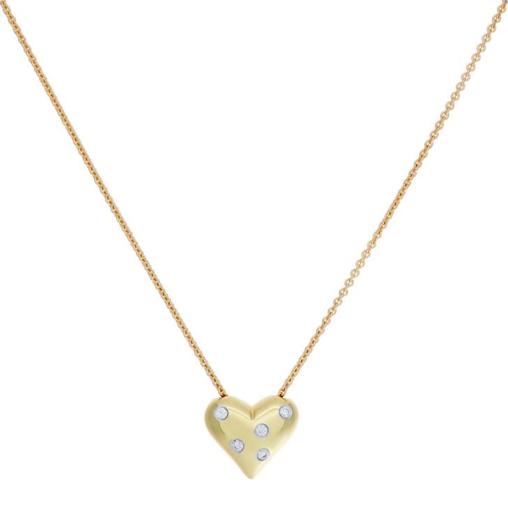 Tiffany & Co. 18K Yellow Gold Diamond Etoile Heart Pendant Necklace