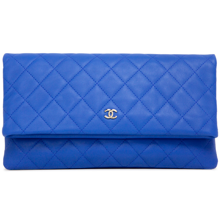 Chanel Blue Quilted Lambskin CC Beauty Clutch