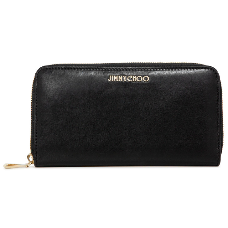 Jimmy Choo Black Calfskin Continental Zip Wallet