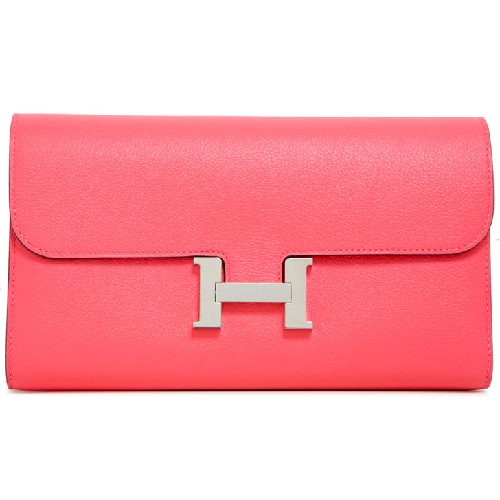 Hermes Rose Azalee Evercolor Constance Long Wallet