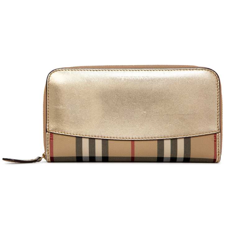 Burberry Metallic Calfskin & House Check Continental Zip Wallet