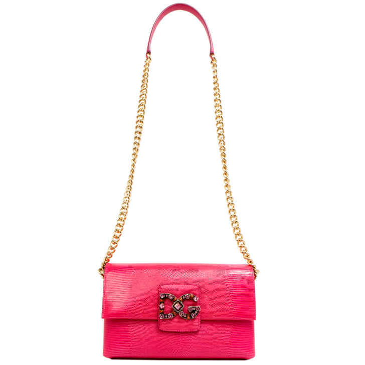Dolce & Gabbana Pink Lizard Embossed DG Millennials Flap Shoulder Bag