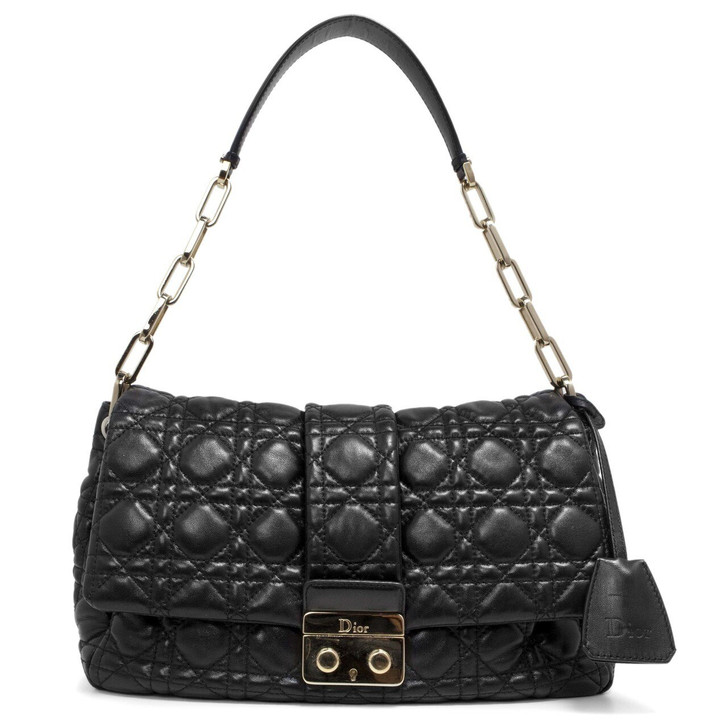 Christian Dior Black Quilted Cannage Lambskin New Lock Flap  Bag