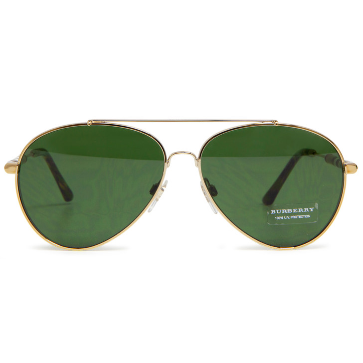 Burberry B 3092 Gold Aviator Sunglasses
