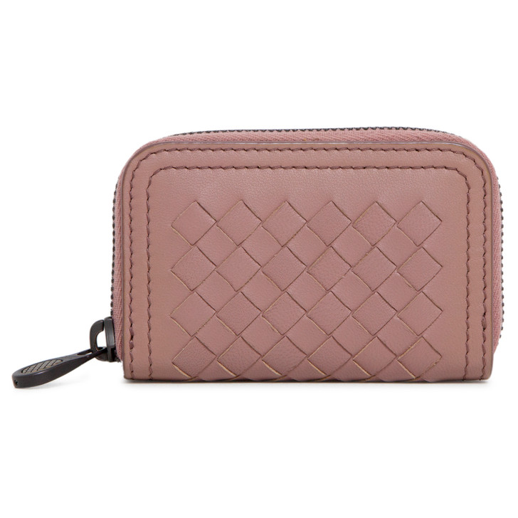 Bottega Veneta Rose Intrecciato Zip Coin Purse