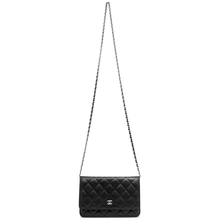 Chanel Black Quilted Caviar Classic Wallet on Chain  WOC