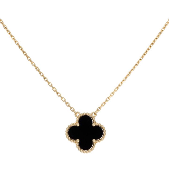 Van Cleef & Arpels 18K Yellow Gold & Onyx  Vintage  Alhambra Pendant