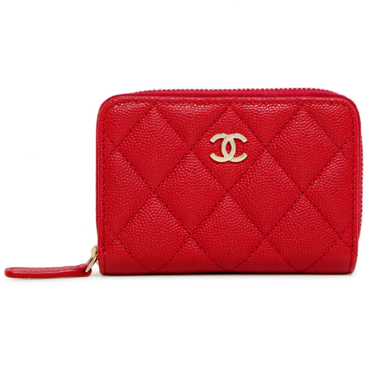 Chanel Red Quilted Caviar Zip Around Coin Purse