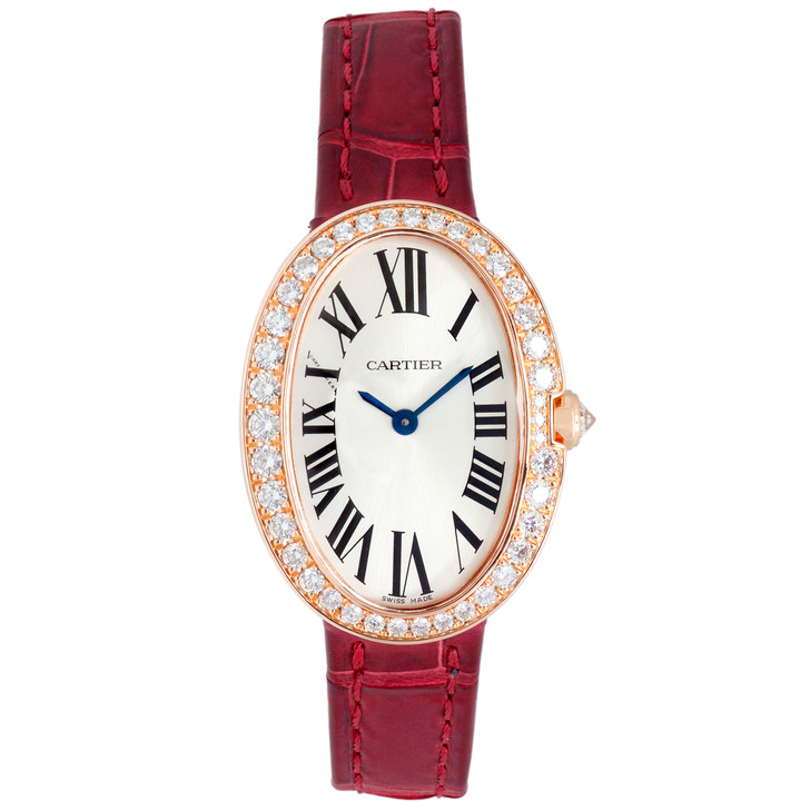 Cartier 18K Pink Gold & Diamond Small Baignoire Watch