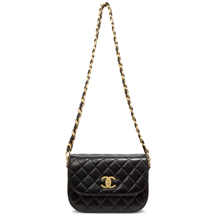 Chanel Black Quilted Lambskin Vintage Flap