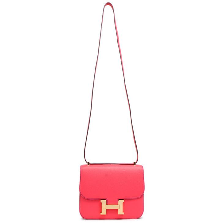 Hermes Rose Azalee/Bleu Electrique Epsom Horseshoe Constance 18