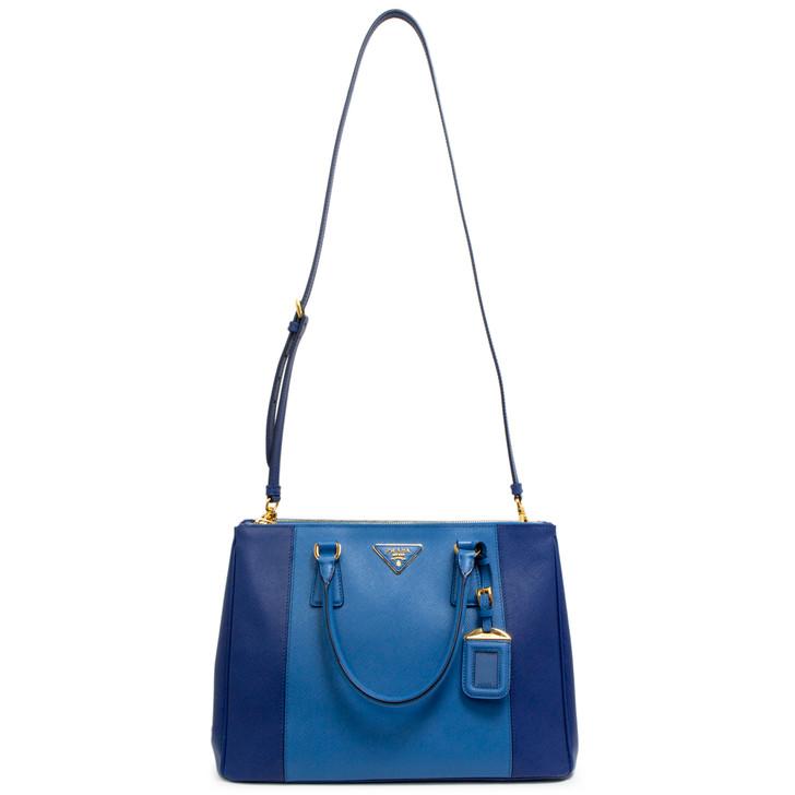 Prada Bluette/Cobalt Saffiano Lux Medium Galleria Double Zip Tote