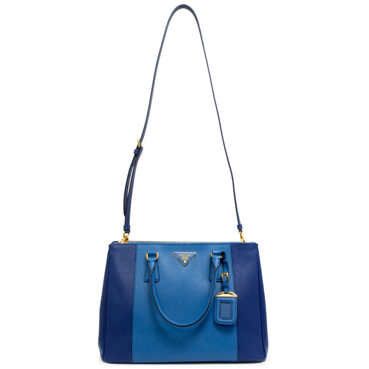 Prada Bluette/Cobalt Saffiano Lux Medium Galleria Double Zip Tote