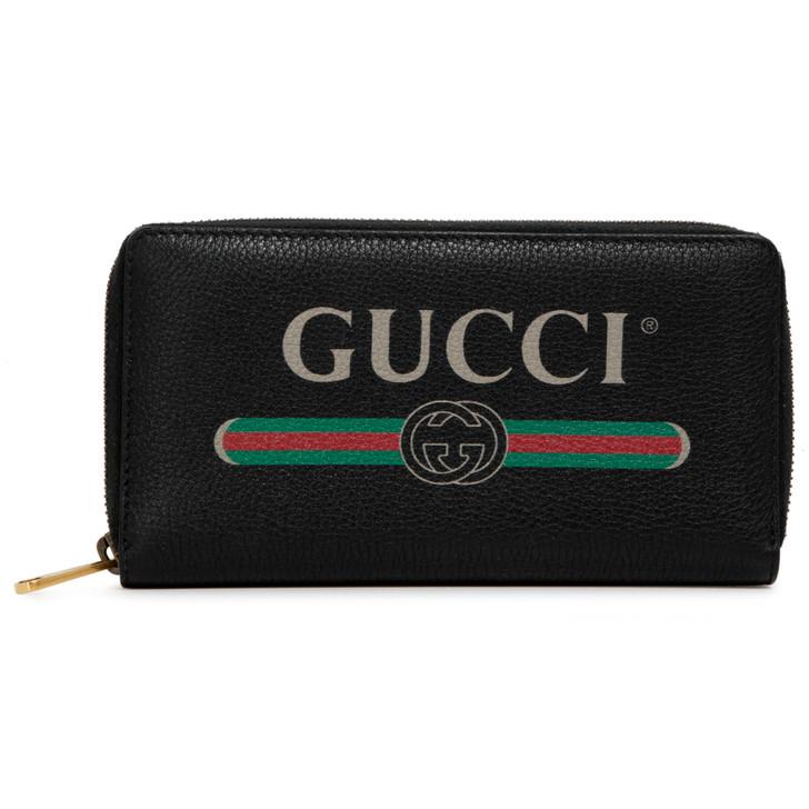 Gucci Print Black Calfskin Zip Around Wallet