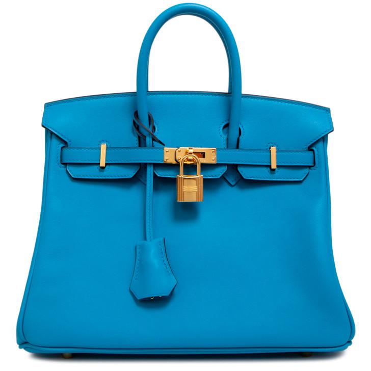 Hermes Blue Zanzibar Swift Birkin 25